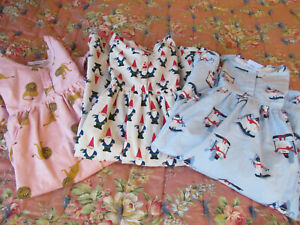 Hanna Andersson Nightgowns 3 Girls Flannel Night Gowns Sz 6-7 Gnome Snowman Lion