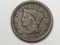 1849 US Braided Hair Large Cent Coin.  #143