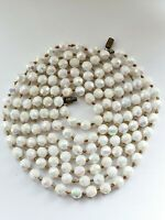 Vintage Faceted White Glass Necklace Aurora Borealis Effect 50's Flapper