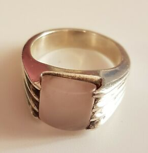 Sterling Silver and Rose Quartz Ring. Size 8.5