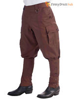 Mens Victorian Steampunk 20s Trousers Breeches Fancy Dress Costume Accessory