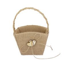Rustic Vintage Burlap Hessian Flower Girl Basket w Wood Heart Wedding Supply