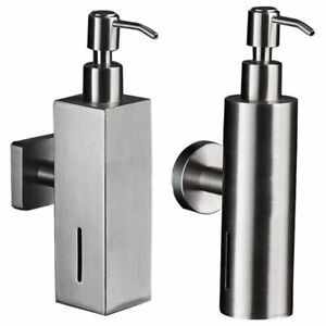 Brushed Nickel Finish Soap Dispenser Stainless Steel Bathroom Shampoo Container