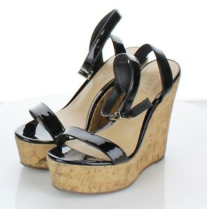 07-14 $160 Women's Sz 6.5 M Schutz Eduarda Wedge Sandal In Black