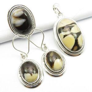 925 Solid Silver Natural PEANUT WOOD Gemstone Pendant Earrings Ring Sz 7.25 SET