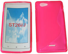 TPU Rubber Pattern Gel Case Protector Cover PINK For Sony Xperia J ST26i ST26 UK