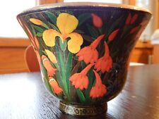 ARTISTIC HAND MADE in KASHMIR FLORAL LACQUER BOWL WITH 22 KT GOLD ~ BEAUTIFUL