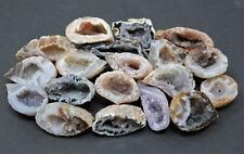 Bulk Small Oco Agate Geodes 1/4 lb Lot, Natural Crystal Druzy Halves (4 oz)