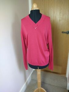EWM Pink Jumper Size L V-Neck Lambswool Pure New Wool Good Condition