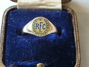 ANTIQUE WW1 10K GOLD ENAMEL SWEETHEART RING ROYAL FLYING CORPS WINGS RFC BOXED