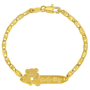 18k Gold Plated Tag ID Identification Bracelet for Baby Boy Toddler 5.5""