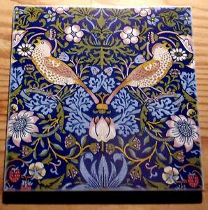 William Morris Arts and Crafts ceramic tile coaster (9 designs available)