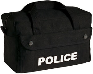 Black POLICE Tactical Gear Bag - Equipment Tool Work Duty Carry Law Enforcement