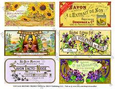 French Savon, Soap Labels, 2 Sticker Sheets, Clip Art Paper Bathroom Decoration