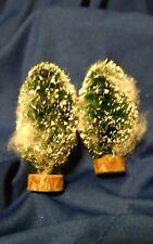 "2 Dept 56 Wood Base Bottle Brush Bushes Trees Flocked Christmas Snow Village 4"""
