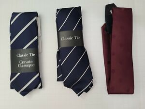 American Apparel Classic Striped 100% Silk Tie Made in USA Red Navy White Stripe
