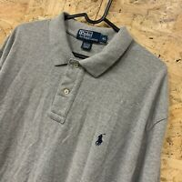 POLO RALPH LAUREN Mens Short Sleeve Polo Shirt XL Long Grey Cotton