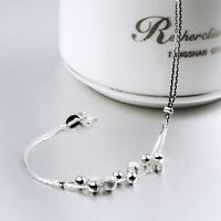 Fashion Women 925 Sterling Silver Star Crystal Charm Chain Bracelet Jewelry New