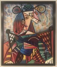 Incredible abstract cubist portrait painting of figures.  Stunning color, signed