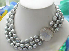 """3 Row 8-9mm Gray Baroque Freshwater Cultured Pearl Necklace 20-22"""""""