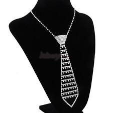 Crystal Rhinestone Necktie Tie Choker Necklace Collar Jewelry Wedding Prom