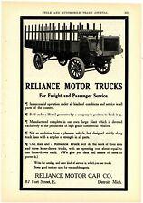 1908 Reliance Motor Car Co. Ad: Reliance Trucks Freight & Passenger. Detroit, MI