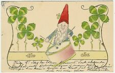 Gnomes, Gnome with a Drum, nice old embossed postcard