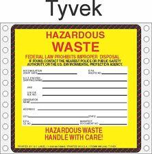 Hazardous Waste Tyvek Labels HWL500 TYVEK (PACK OF 500)