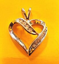 Charm Pendant Diamonds 0.12 tcw ladies P2 Elegant 10K solid White Gold Heart