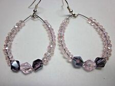 Silver Hoop Earring With Pink / Purple Swarvoski crystal