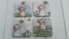 Cute Dormouse in Clover Patch Stone Coasters