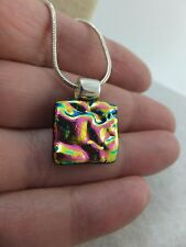 Handmade Mini Dichroic Glass Pendant & Chain