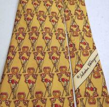 SALVATORE FERRAGAMO Tie Necktie Yellow Red Golfer Putter Silk New
