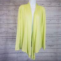 J Jill Womens Cardigan Sz Medium Green Open Front Linen Long Sleeve
