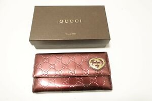 Authentic GUCCI Patent Leather Heart Long Wallet #8885