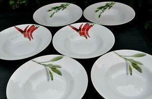 Crea Table Fine Porcelain, 6 Pasta/Spagetthi Teller, verschiedene Motive, 27 cm