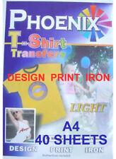 IRON ON T TEE Shirt LIGHT Transfer Paper A4 40 Sheets Phoenix Brand
