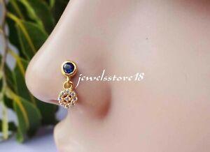Dark Amethyst Stone Stud Gold Nose Hoop Fake Nose Stud Nipple Piercing Rings