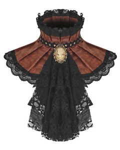 Punk Rave Womens Steampunk Jabot Collar Cravat Tie Brown Lace Gothic Aristocrat