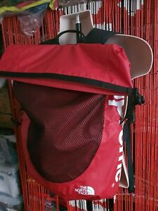 SS17 Supreme x The North Face waterproof red backpack TNF
