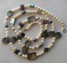 Collana lunga madreperla tahiti perle di fiume grigie bianche Argento 925  95 cm