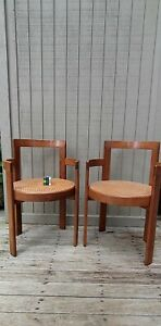 MidCentury Modern Bentwood Cane Seat Armchairs Italian or Thonet