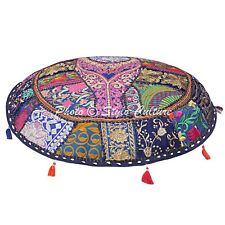Decorative Cotton Embroidered Floor Cushion Cover Indian Patchwork Pouf Cover