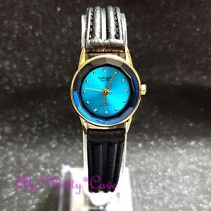 Omax Classic Slim Gold Pl Blue Cut Glass Mineral Seiko Movt Leather Watch 8N8362