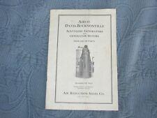 Vintage Airco Davis-Bournonville Acetylene Generator Parts Price Booklet,1923
