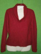 Sarah Spencer sweater red maroon long sleeve angora lambs'wool blend size M