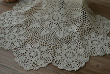 "23"" Round Hand Crochet Ecru Doily French Country Table Cloth Centerpiece Runner"