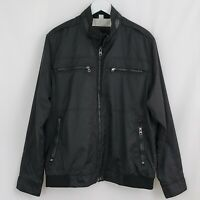 BUGATCHI sz Large Men's Black Light Moto Full Zip Coat Bomber Jacket BX5001J2