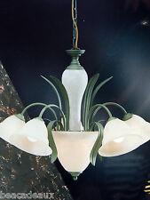 LAMPADARIO RUSTICO CLASSICO in ferro battuto verde CON CRISTALLI bianchi sabbia