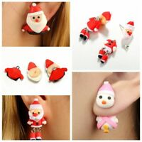 Lovely Santa Claus Polymer Clay Stud Earrings Christmas Cartoon Eardrop Jewelry